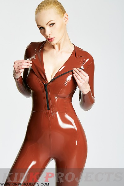 (Stock Clearance)  Wide Lapel Jacket Style Catsuit