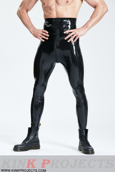 Male High-Waisted Leggings With Zipper