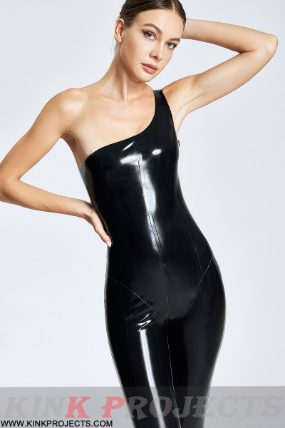 (Stock Clearance) Slanted Shoulder Pull-on Catsuit