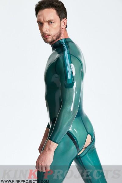 Male Open-Crotch Shoulder-zip Catsuit