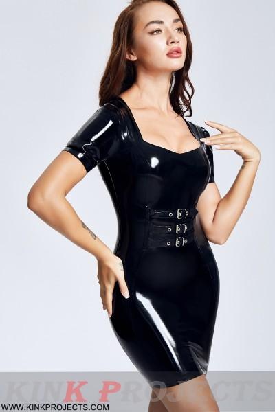 Buckled Up Short-sleeved Mini Dress