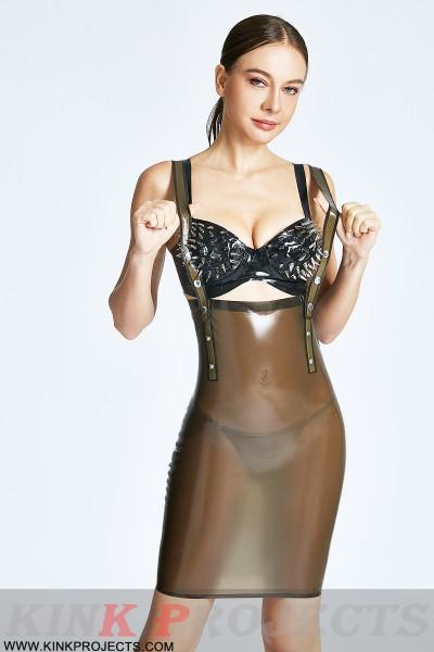 'Studded-Shoulder Strap' Translucent Skirt